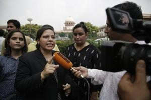 "Farha Faiz, a Supreme Court lawyer, speaks to the media after the apex court declared ""Triple Talaq"", unconstitutional in its verdict, August  22."