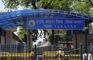 The Tihar jail van, carrying 56 prisoners, was on its way back from Rohini court to the prison at 2pm on Tuesday when a biker was spotted trying to tie a packet to the van's window grille.