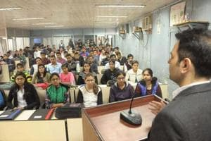 Students at Vaish College of Engineering, which is one of the oldest private engineering colleges in Rohtak.
