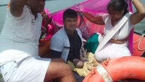 NRDF personnel facilitated child delivery midstream in Bihar's flood-hit East Champaran district on Wednesday.