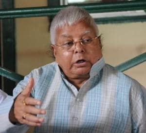 RJD chief Lalu Prasad speaking to the media in Patna on Wednesday.