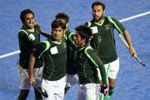 Pakistan players celebrate a goal during the men's hockey gold medal matchof the 2014 Asian Games between India and Pakistan at Seonhak Hockey Stadium on October 2, in Incheon. Pakistan have qualified for the 2018 men's hockey World cup in Odisha.