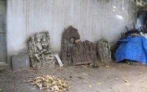 Artifacts in the backyard of Vidyadhar Nagar Police Station at Jaipur on Monday.