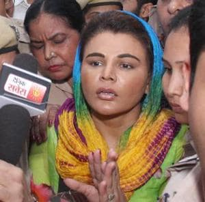 Actor Rakhi Sawant talking to mediapersons in the district courts in Ludhiana on Wednesday.