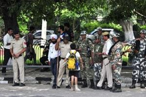 Paramilitary forces in Panchkula, on Thursday.
