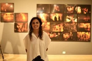 Egyptian photographer Laura El-Tantawy at the Triveni Kala Sangam in New Delhi.