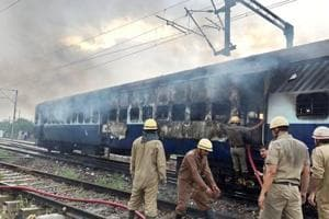 Two coaches of empty Rewa Express set on fire near Anand Vihar railway station in east Delhi on Friday evening.