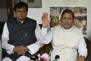 Sharad Yadav with Ali Anwar during a Press Conference at his residence in New Delhi, India, on Wednesday, August 16, 2017.