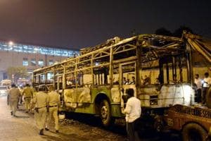 A DTC bus that was set on fire near Baadli metro station in New Delhi on Friday by followers of Dera Sacha Sauda chief Gurmeet Ram Rahim after he was convicted for rape.