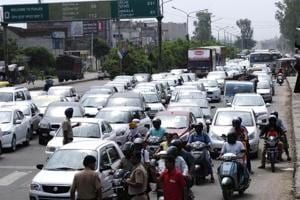 A traffic snarl caused by security checks at Zirakpur to Chandigarh entry point in Chandigarh on August 26, 2017.