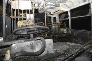 A UP roadways bus was burnt in Ghaziabad