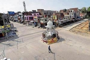 A deserted roundabout near the Dera Sacha Sauda headquarters in Sirsa on Sunday.