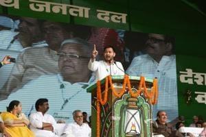 RJD leader Tejashwi Prasad Yadav addressing the'Desh Bachao, BJP Bhagao' rally in Patna on Sunday.