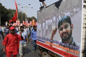 Members of various Left youth organisations taking part in a rally in Kolkata.