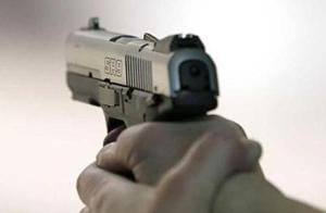 The criminals shot at the security guard, snatched his rifle and fled with the cash.