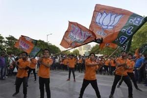 BJP candidate Ved Parkash won the 2015 assembly election from Bawana on an AAP ticket. Days before the MCD polls in April, he switched over to the BJP. The picture above is of a flash mob organised by BJP supporters during the civic polls.