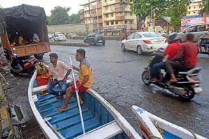 Small boats kept for rescue at Hindamata,Parel.