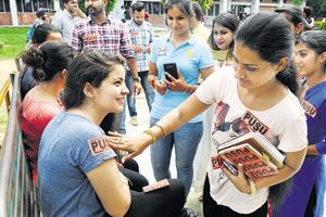 Students campaigning for Panjab University Student Union on the Sector-25 campus at Panjab University.