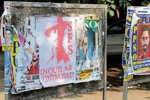 A poster carrying Shaheed Bhagat Singh's picture put up by the Students for Society.