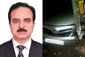 Ramesh Vij's (left) Toyota Corolla Altis carwas found some distance away crashed to an electric pole.