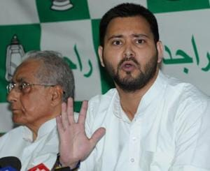 RJD leader Tejashwi Yadav speaking to the media in Patna on Friday.