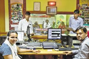 The small team at the headquarters of Alfaz-e-Mewat (Voices of Mewat), FM 107.8, one of the country's most famous community radios.