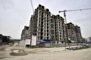 A view of an upcoming  DDA project in Jasola Vihar in south Delhi.