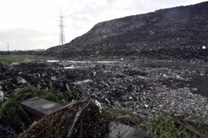 The landfill site at Ghazipur in New Delhi where 3,000 metric tonnes of garbage is dumped everyday.