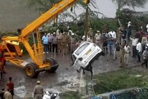 Rescue and relief operations underway after a part of the Ghazipur garbage landfill collapsed in east Delhi on Friday afternoon. Several people and a vehicle were swept into the canal after the mishap.