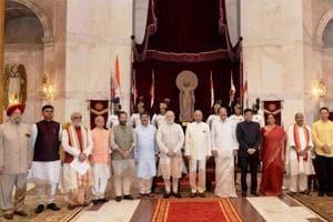 President Ram Nath Kovind, vice president M Venkaiah Naidu and Prime Minister Narendra Modi with newly sworn-in ministers, at Rashtrapati Bhavan in New Delhi on Sunday.