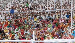 People at the Jat rally in Jhajjar on Sunday.