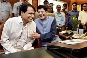 New Railways Minister Piyush Goyal takes charge from his predecessor Suresh Prabhu at Rail Bhawan in New Delhi on Monday.