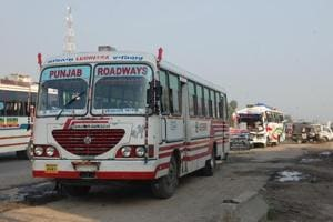 The Punjab Roadways bus that was involved in the accident in Phagwara.
