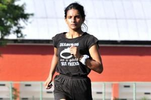 Sprinter Divyanshi Shukla runs at the sports complex in Sector 7, Chandigarh on Tuesday, September 05, 2017.