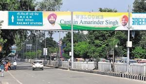 Illegal hoardings welcoming chief minister Captain Amarinder Singh at Bharat Nagar Chowk in Ludhiana on Tuesday.