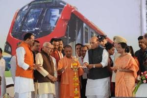 Union Home Minister Rajnath Singh, Chief Minister of UP Yogi Adityanath and UP Governor Ram Naik  at the inauguration of the Lucknow  Metro Rail  service on Tuesday.