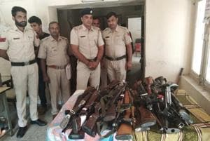 Some of the rifles Sirsa police recovered from the Dera Sacha Sauda office on Monday.