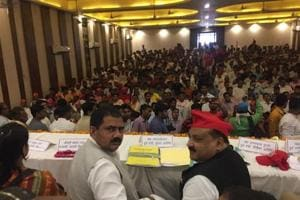 Former minister in UP cabinet, Ata-ur-Rehman and city unit president Raisuddin during Samajwadi Party worker meet in Agra on Tuesday.
