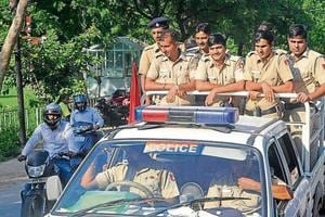 Cops keeping vigil during rallies taken out by various student outfits on the last day of campaigning at Panjab University on Tuesday.