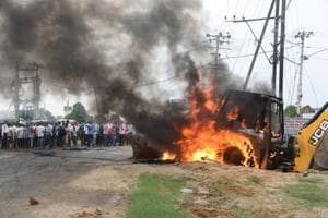 The mob burnt  at least heavy machinery equipment used during an anti-encroachment drive in Patna on Tuesday.