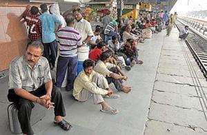 Passengers waiting on a platform at the Jalandhar railway station on September 7. /HT Photo
