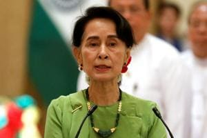 Myanmar state counselor Aung San Suu Kyi at a news conference with Prime Minister Narendra Modi in Naypyitaw on September 6, 2017.