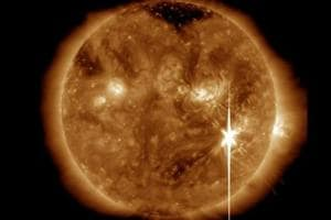These radiation flares, which can disrupt communications satellites, GPS and power grids by reaching the upper Earth atmosphere, were detected and captured by the US Space Agency's Solar Dynamics Observatory.