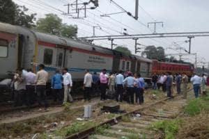 Ranchi-Delhi Rajdhani Express at Shivaji Bridge in New Delhi after its engine and a coach derailed.