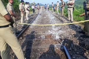 Police at the site where the derailment took place near Sonbhadra in Uttar Pradesh on September 7.