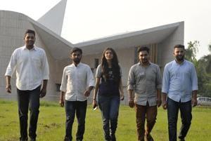 (Left to right) Harman Sing Lubana, Avinash Pandey, Hassanpreet, Davinder Singh and Jashan Kamboj at the Panjab University in Chandigarh on Wednesday.