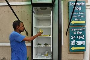 Residents have installed a community fridge for underprivileged people.