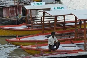 Boats anchored at Assi ghat for two months as batteries, motors taken off due to rising water in the Ganga.