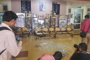 Premises of the Ryan International School in Gurgaon which was vandalised allegedly by parents on Friday after the body of an 8-year-old student was found in a pool of blood in a toilet.
