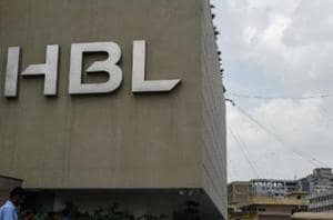 The logo of Habib Bank Limited (HBL) is seen on a building in Karachi.